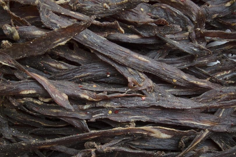 A picture of dried jerky meat
