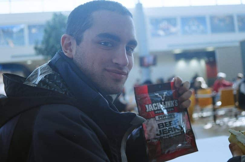 A man holding in his hand Original Beef Jerky