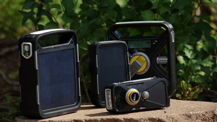 Eton Solar Radios outside in the sun