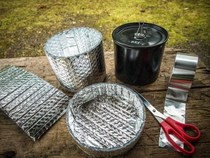 Lightweight reflective insulation or backpacking stove windscreens