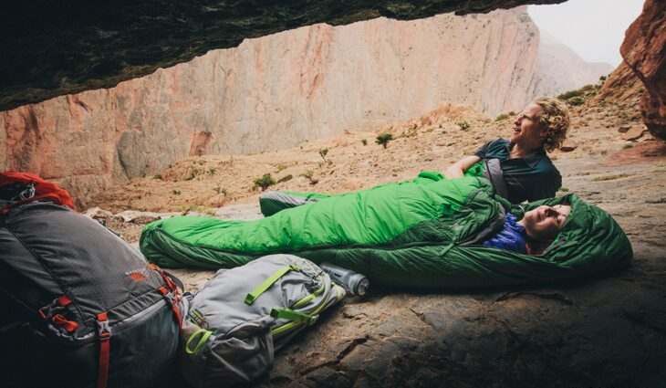 Two adults in sleeping bags