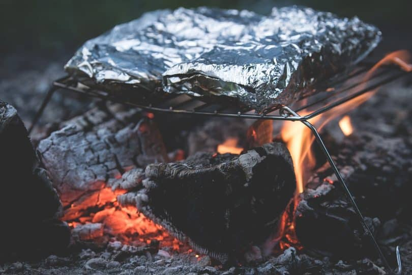 food cooked on camping fire
