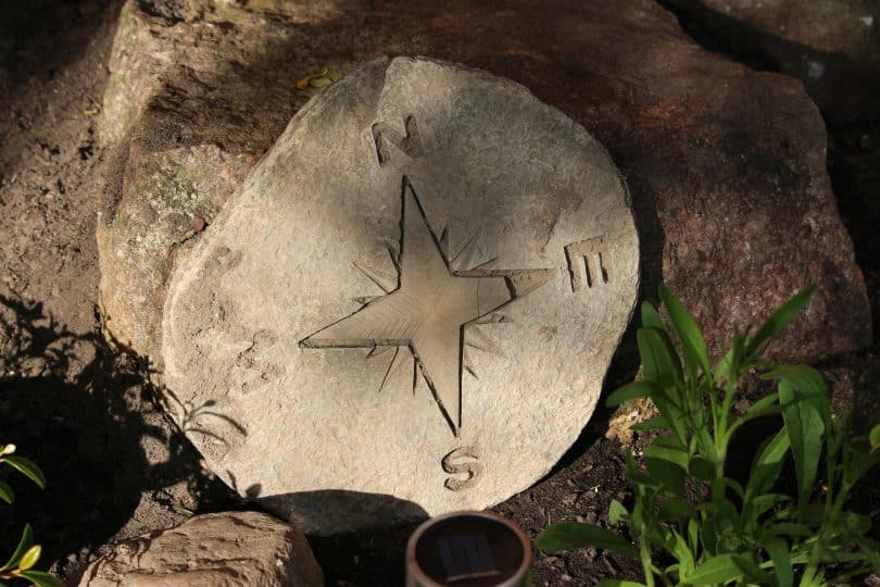 A picture of a compass points on a rock
