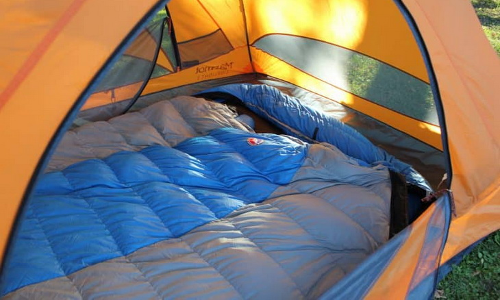 doublewide-sleeping-bag-in a tent