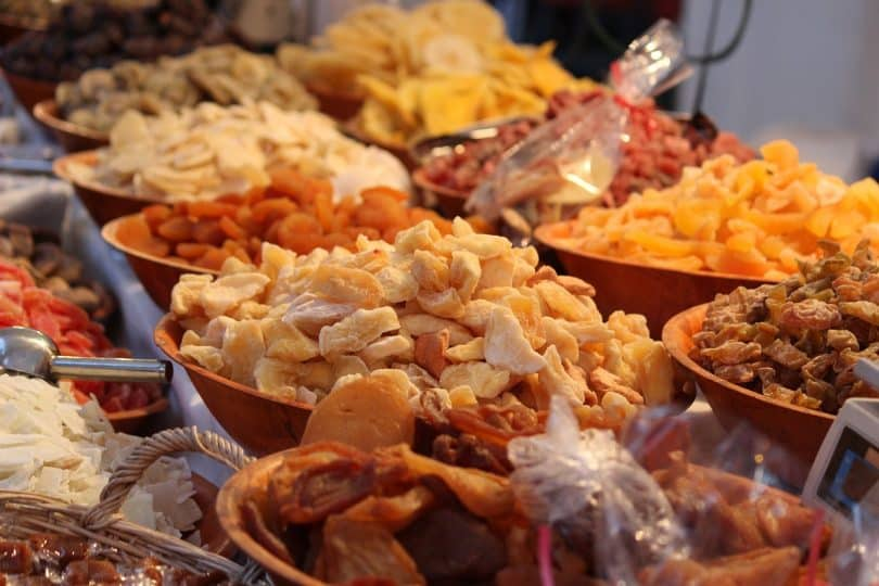 a picture of dried fruits at the market
