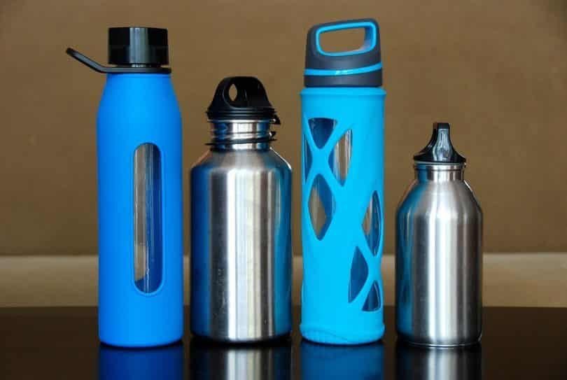 group picture of water bottles
