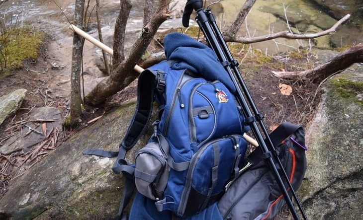 Image of a backpack in the forest