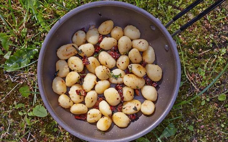 Frying Gnocchi in a frying pan