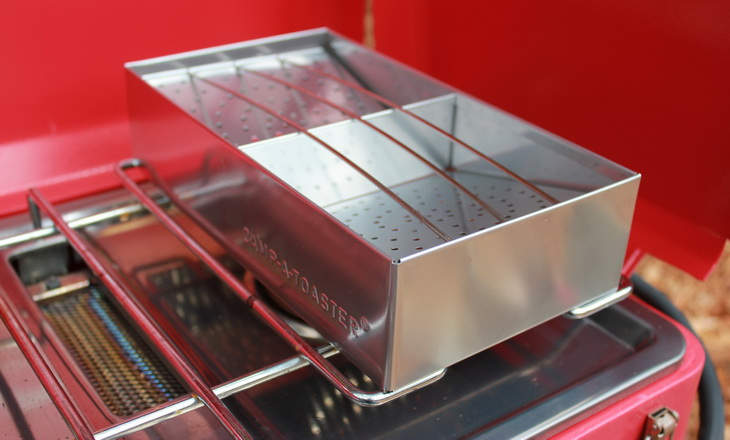 Close-up image of a camp toaster