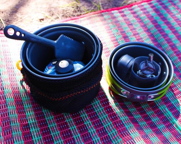 Bringing cooking set to camping