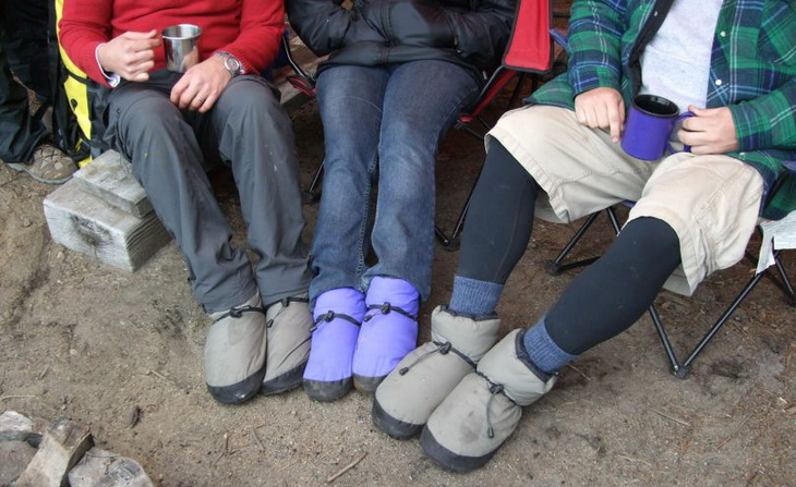 Group of people wearing Puffy-camp-booties