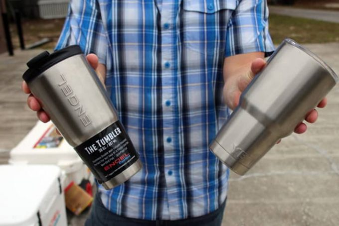 A man holding a Yeti-Tumbler camping termos