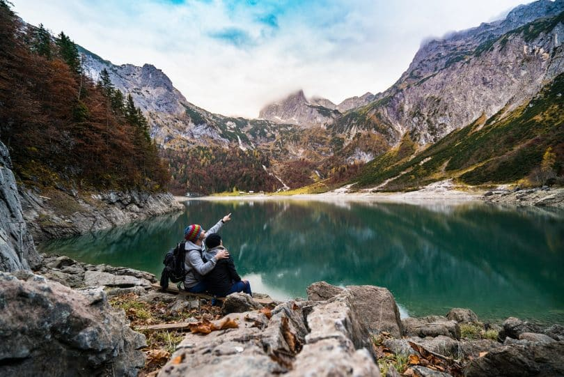 a picture of a couple enjoying the nature