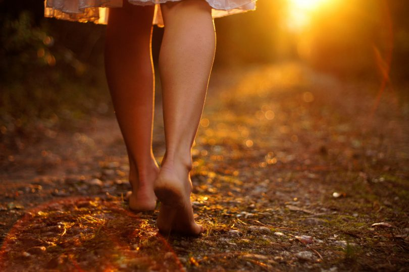 barefoot-walking among the Autumn leaves