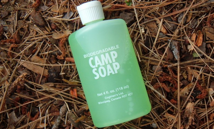 Image showing a liquid camp soap on the ground