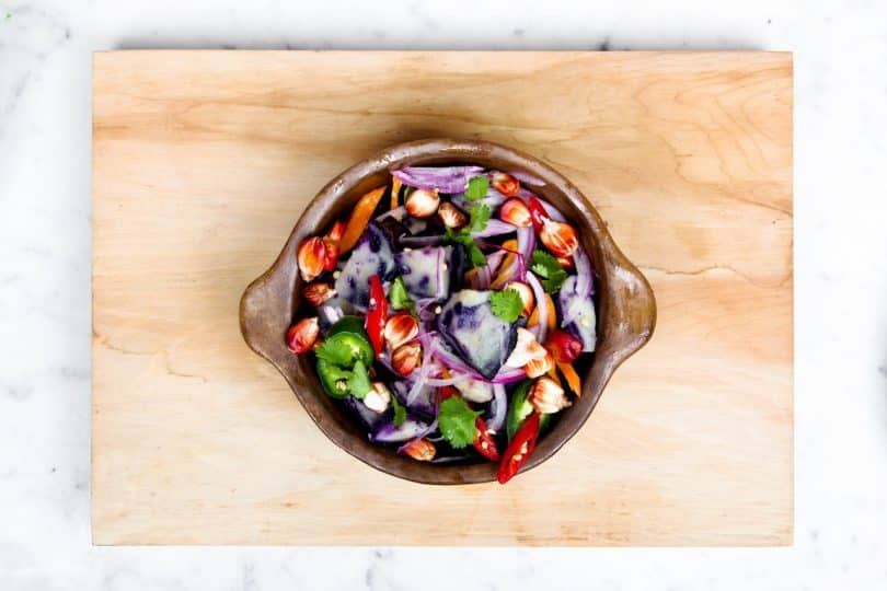 picture of a canned salad on table