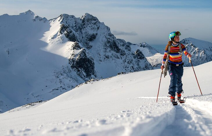 picture of a woman skiing