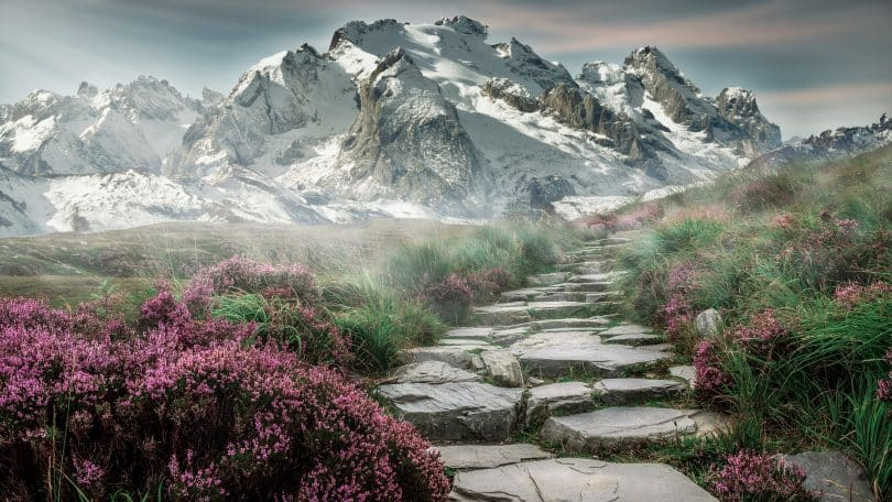 a picture of mountain landscape