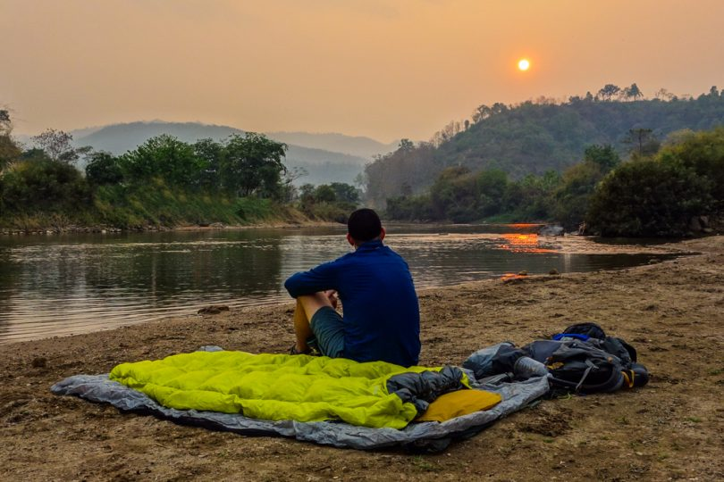 picture of a backpacker resting