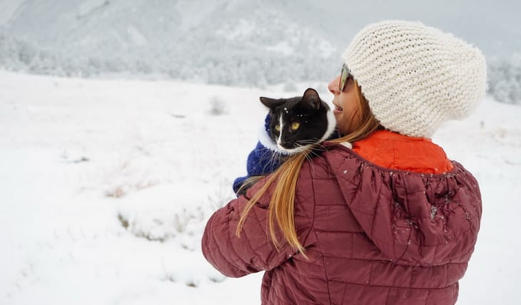 A hiking cat on a woman's shoulder