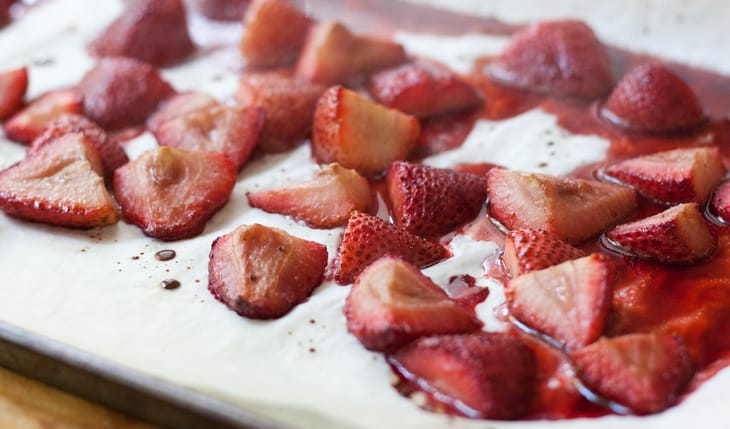 Roasted Strawberries in Marshmallow Fluf