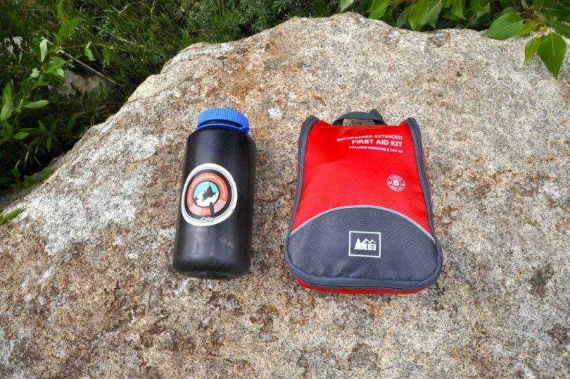 First Aid Kit on a rock