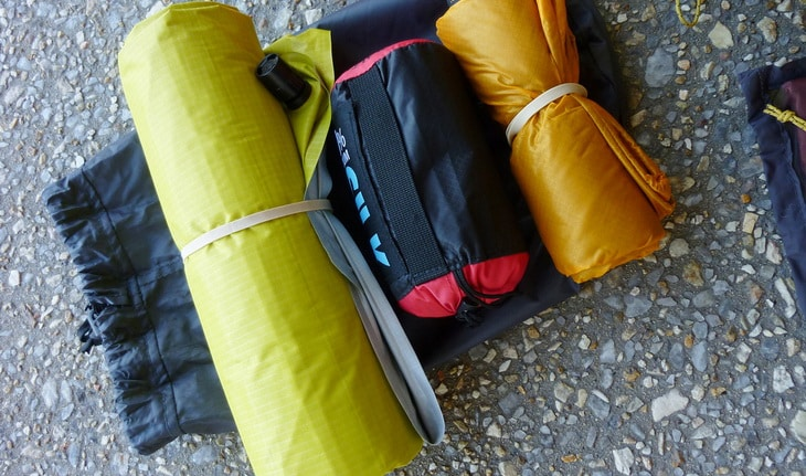 backpacking gear on the ground