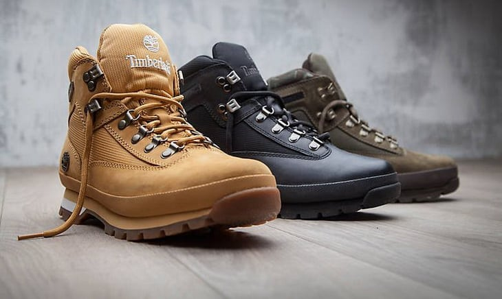 Timberland hiking boots on the floor
