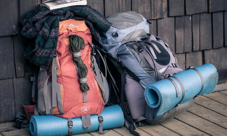 Two Backpacks For Hiking on the Ground