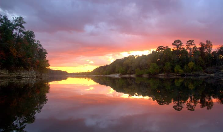 A colorful sunset along the Apalachicola River at Torreya State Park