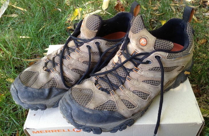 A pair of Merrell Moab Ventilator hiking boots