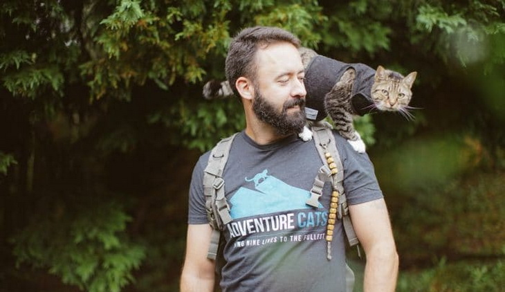 A man hiking with cats