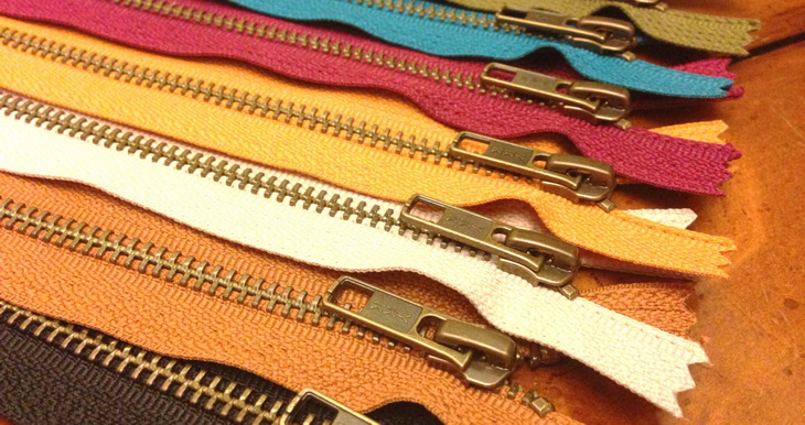 Antique brass 9 inch zippers