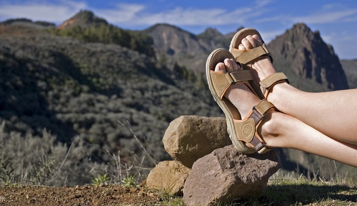 A woman having a rest after a long walk in the mountains of Gran Canaria