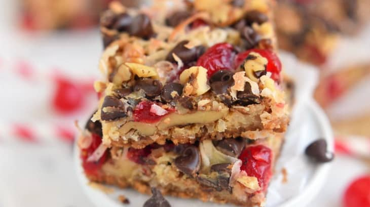 Close-up picture of homemade Cherry Bar