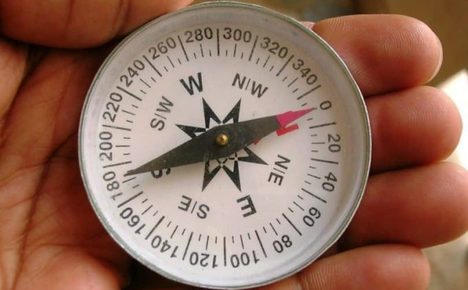 A man holding a compass-showing-north