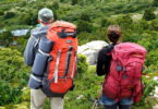 Couple backpacking adventure