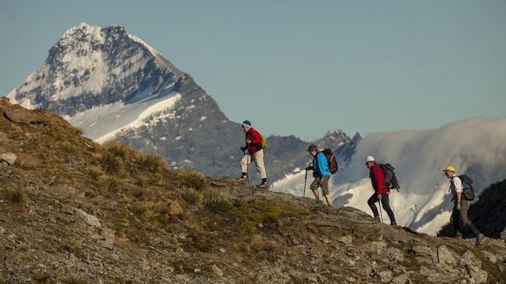 Group og hikers climbing Mt-Aspiring