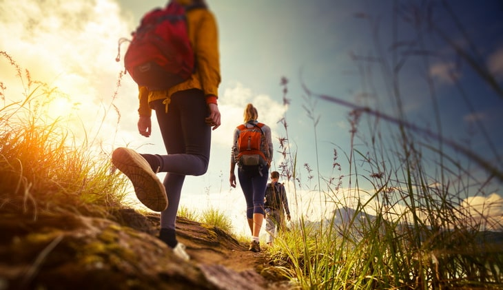 Group-hiking-in-the-mountains-on-a-classic-hike-in-the-Smokies