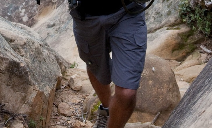 A man feeling comfortable to hike while wearing a pair of shorts