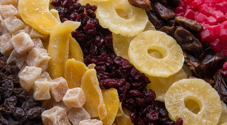 Close-up picture of dried fruits on the plate