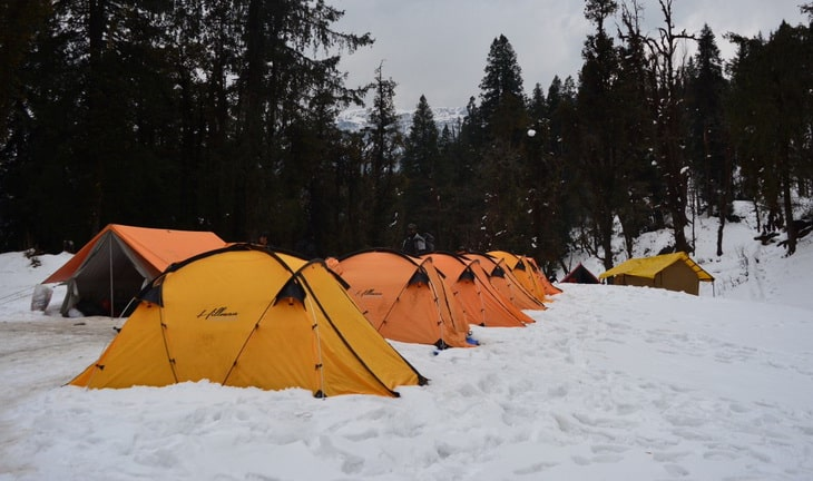 Group of tents in Kedarkantha in winter season