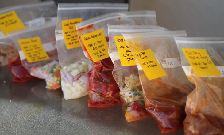 Labels on the freezer meals bags