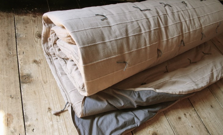 Luxury cotton Handmade Sleeping Bag on the Floor