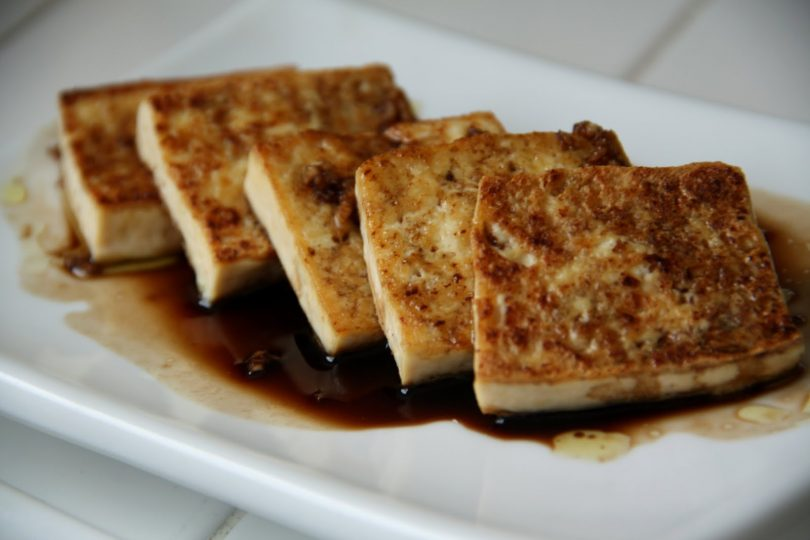 Marinated tofu on the plate