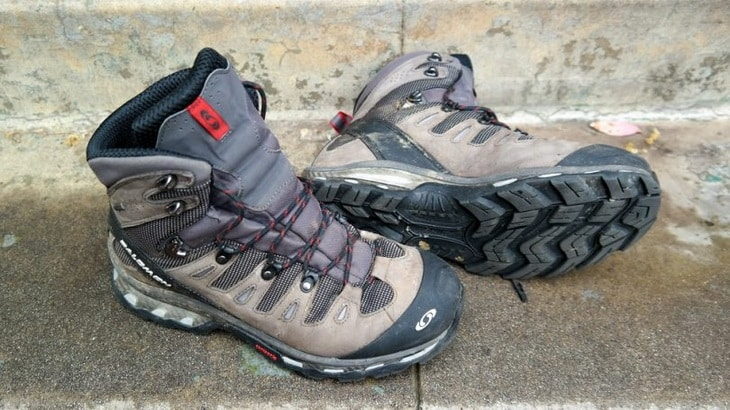 A pair of Split Grain Leather hiking boots