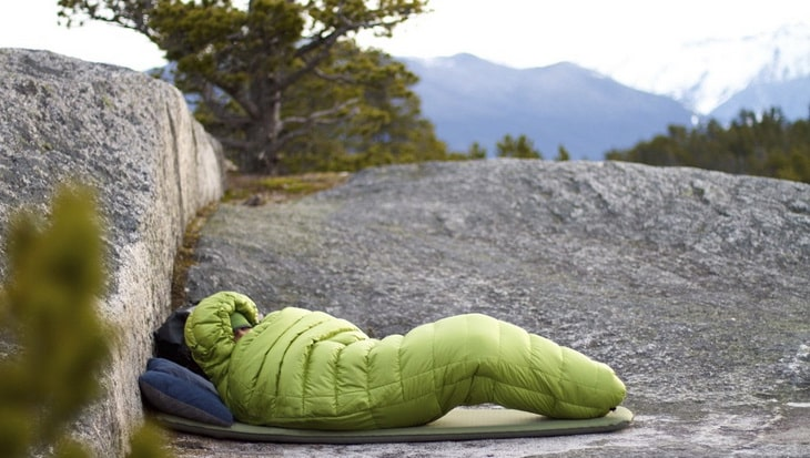 Person sitting in a Mummy Shaped and Cold Weather Sleeping Bags