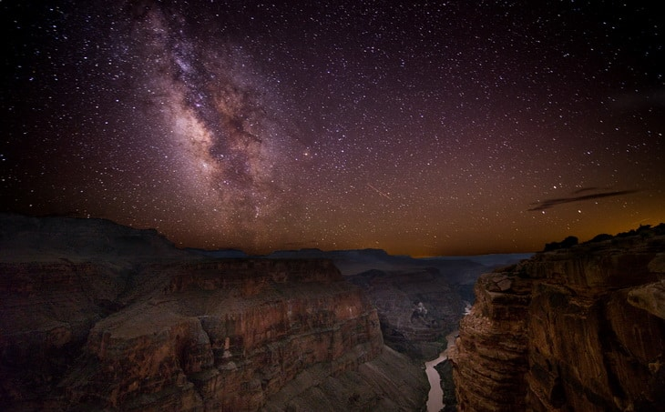 Night sky above Grand Canyon