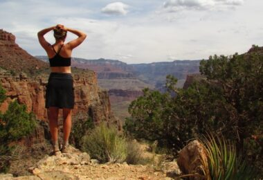 Woman wearing the Purple Rain Adventure Skirts, field-tested and approved at Grand Canyon National Park.