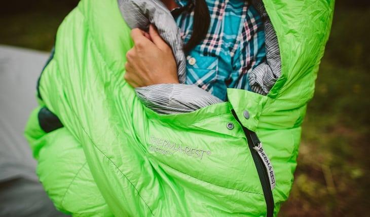 A poerson in a sleeping bag
